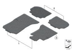 All-weather floor mats, front, black
